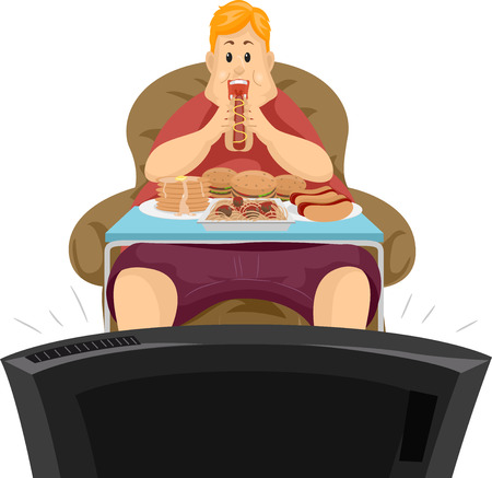 TV를 전면에 그의 저녁 식사를 먹는 뚱뚱한 남자의 그림 스톡 콘텐츠