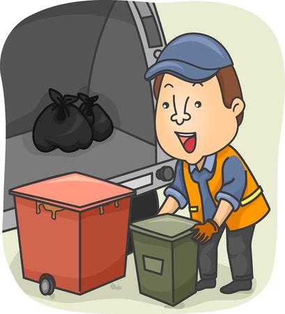 Illustratie van een Vuilnisman Laden Garbage in de Truck