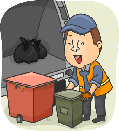 collector: Illustration of a Garbage Collector Loading Garbage in the Truck