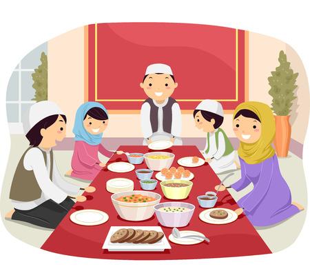 家庭: 一個穆斯林家庭飲食的火柴人一起插圖