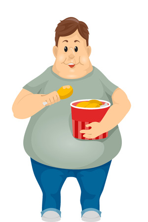 Illustration of an Obese Man Eating Fried Chicken Out of a Bucket