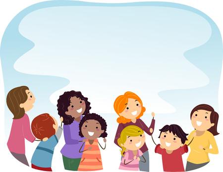bonhomme allumette: Illustration Stickman des parents et des enfants Looking Up