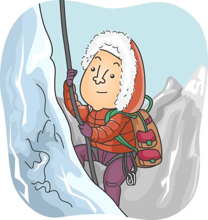 mountain climber: Illustration of a Mountain Climber Trekking a Snowy Mountain