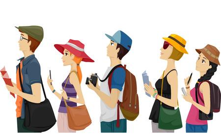 Ilustrace skupinu turistů čekání na fronty