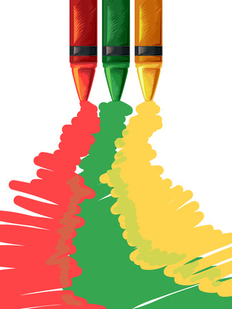 bright paintings: Illustration of Crayons Spilling Colors on its Trail