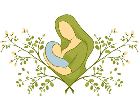 breastfeeding: Illustration of a Mother Breastfeeding on Top of a Moringa Plant