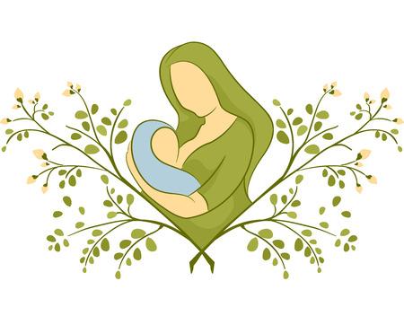 amamantando: Ilustración de un amamantamiento de la madre en la cima de una planta de Moringa Foto de archivo