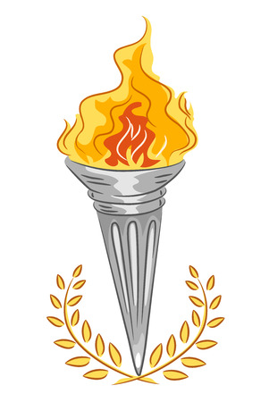 adorned: Illustration of a Silver Torch with Adorned with Golden Leaves Stock Photo
