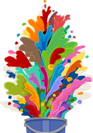 Illustration d'un Pot de peinture Débordant de couleurs
