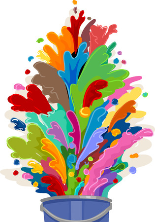 spilled paint: Illustration of a Paint Bucket Bursting with Colors