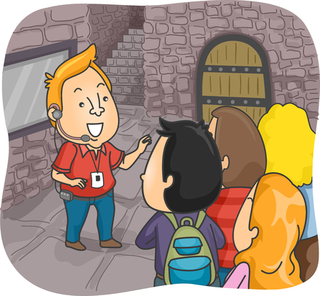 tour guide: Illustration of a Tour Guide Guiding a Group of Tourists Inside a Castle