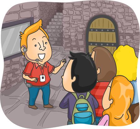 guia de turismo: Ilustración de un guía turístico en guiar a un grupo de turistas en un castillo Foto de archivo