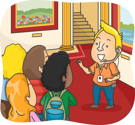 guia de turismo: Ilustración de un guía turístico en guiar a un grupo de turistas a lo largo de un Palacio