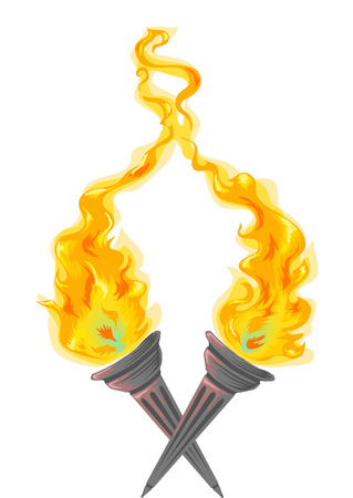 raging: Illustration of Twin Torches with Flames Raging Wildly
