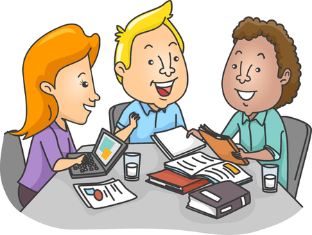 Illustration of a Group of College Students Studying Together