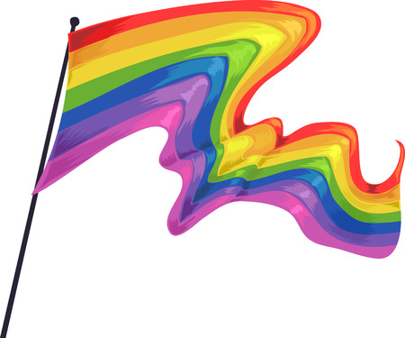 Illustration of a Pride Flag Fluttering in the Air Stock Photo