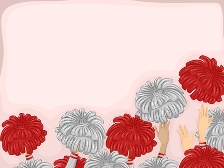 cheerleader: Background Illustration of Cheerleader Hands Throwing Pompoms in the Air