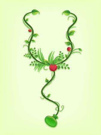 vine: Illustration of Vines Twirled Around a Stethoscope