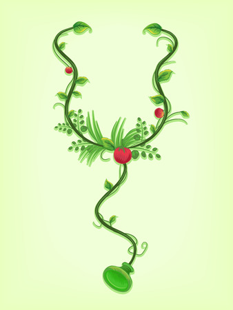 Illustration of Vines Twirled Around a Stethoscope
