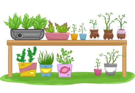 or recycled: Illustration of a Gardening Table Filled with Recycled Flower Pots