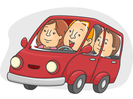 Illustration of a Group of People Car Pooling