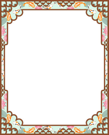 art frame: Background Illustration of an Asian Themed Frame Designed with Koi Fishes Stock Photo