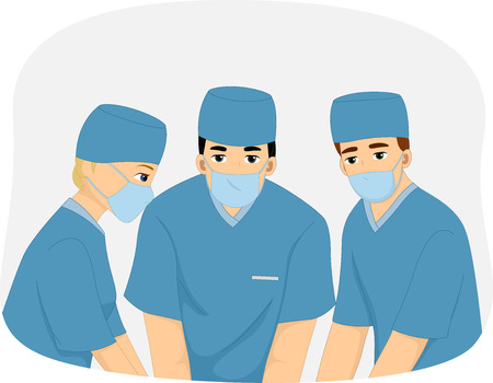 medical team: Illustration of a Medical Team Performing Surgery