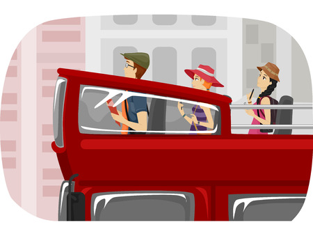 double decker: Illustration of a Group of Teenage Tourists Touring the City in a Double Decker Bus