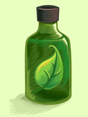 herbal medicine: Illustration of a Bottle Filled with Herbal Medicine