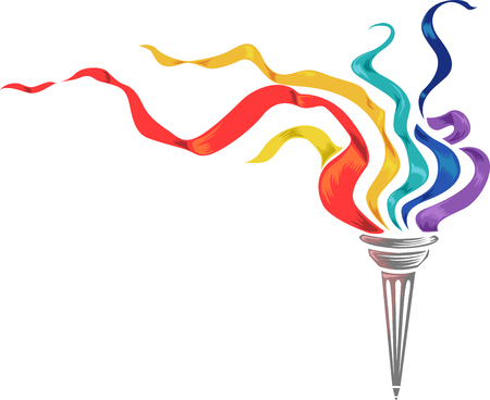 fluttering: Illustration of a Torch with Colorful Strips of Paper Fluttering on Top