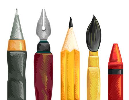 Illustration d'un ensemble de stylos Crayon et Pinceau Crayon Banque d'images