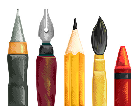 fine arts: Illustration of a Set of Pens Paintbrush Pencil and Crayon Stock Photo