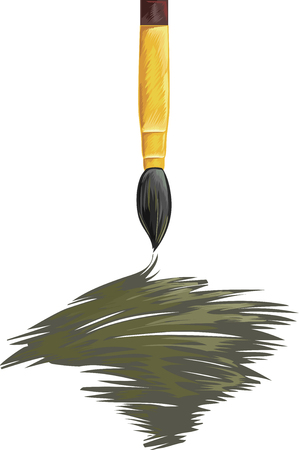 scribbling: Illustration of a Paintbrush Spreading Gray Ink Stock Photo