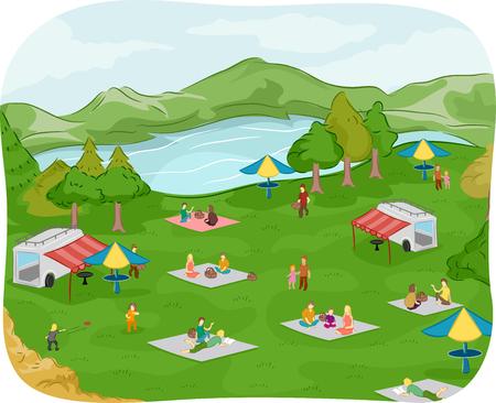 Illustratie van gezinnen met een picknick bij een meer
