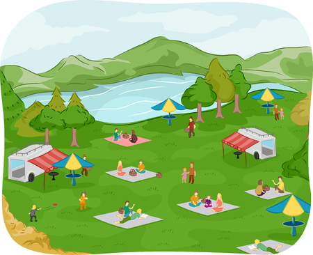 convivencia familiar: Ilustración de familias con un picnic cerca de un lago