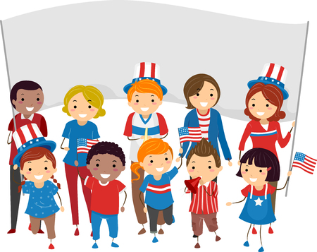 man illustration: Illustration of People Joining a Parade to Celebrate the Fourth of July