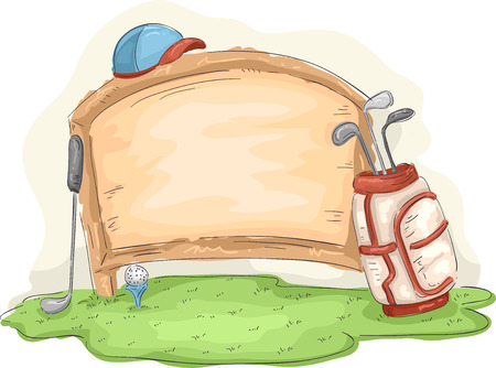 golf bag: Illustration of a Golf Bag Leaning Against a Wooden Board
