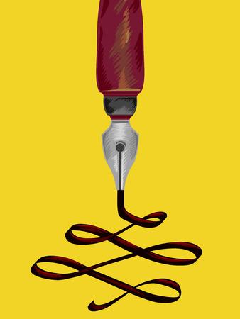scribbling: Illustration of a Fountain Pen Scribbling Random Notes