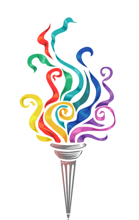 sporting event: Illustration of a Torch with Colorful Swirls on Top