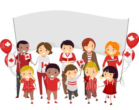 bonhomme allumette: Illustration Stickman de personnes rejoignant un défilé pour célébrer la fête du Canada