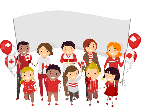 Stickman Illustration of People Joining a Parade to Celebrate Canada Day Stock Illustration - 44985263