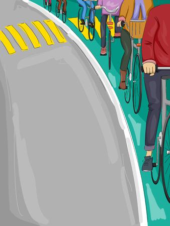lane: Illustration of Cyclists Following a Bike Lane Stock Photo