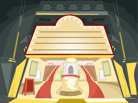 adorning: Illustration of a Marquee Adorning a Broadway Entrance Stock Photo