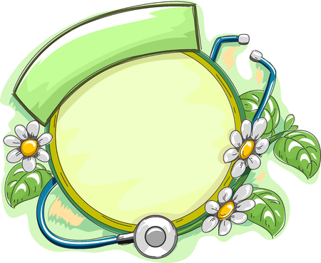 wrapped around: Frame Illustration Featuring Herbal Plants Wrapped Around a Stethoscope Stock Photo