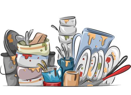 대기 더러운 요리의 스택의 그림 세척한다