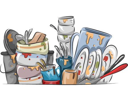 dish: Illustration of a Stack of Dirty Dishes Waiting to be Washed