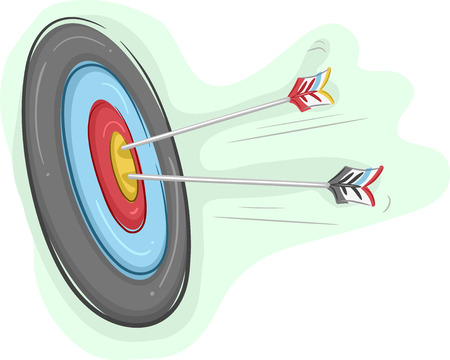 marksmanship: Illustration of Arrows Piercing an Archery Board