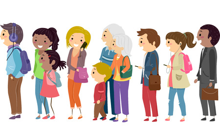 damas antiguas: Ilustraci�n de la gente que espera pacientemente en una cola Foto de archivo