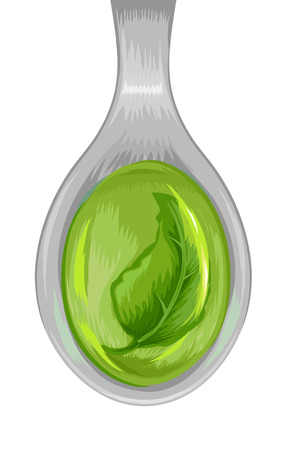 tincture: Illustration of a Spoon Filled with a Green Tincture Stock Photo