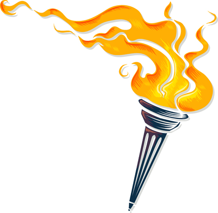 resplandor: Ilustración de una antorcha con las llamas el rabiar Salvajemente Foto de archivo